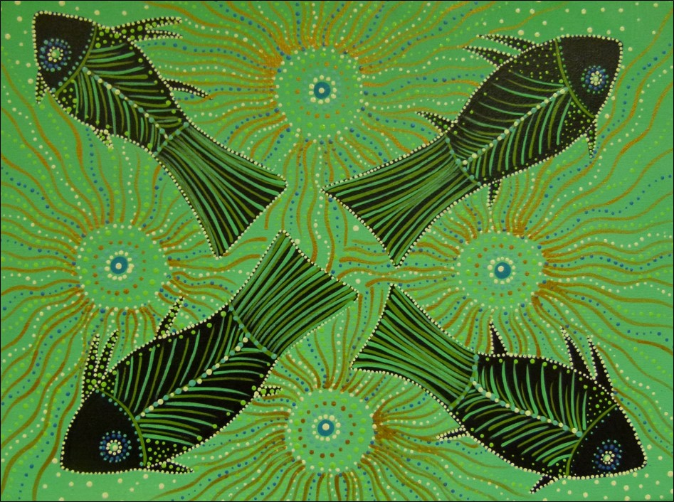 Aboriginal artwork of four fish on a green background