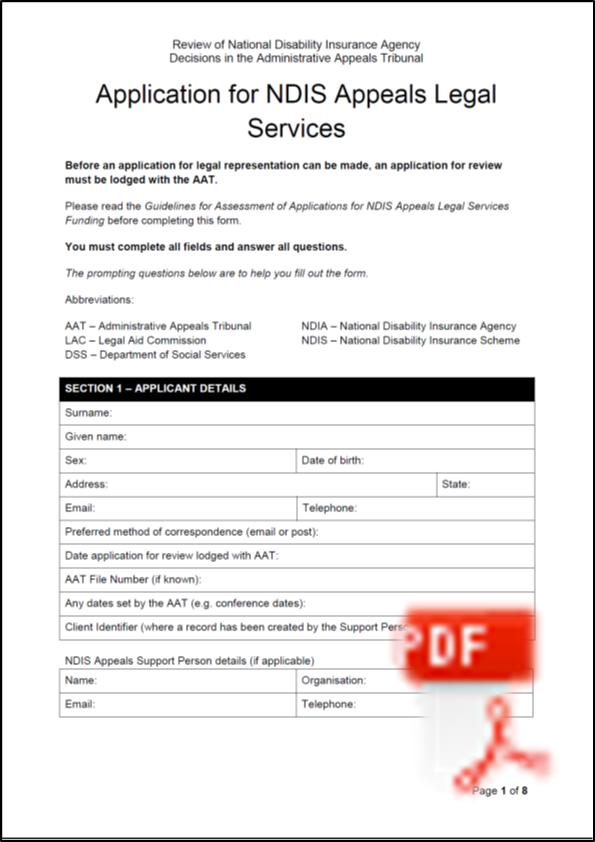PDF Application form thumbnail