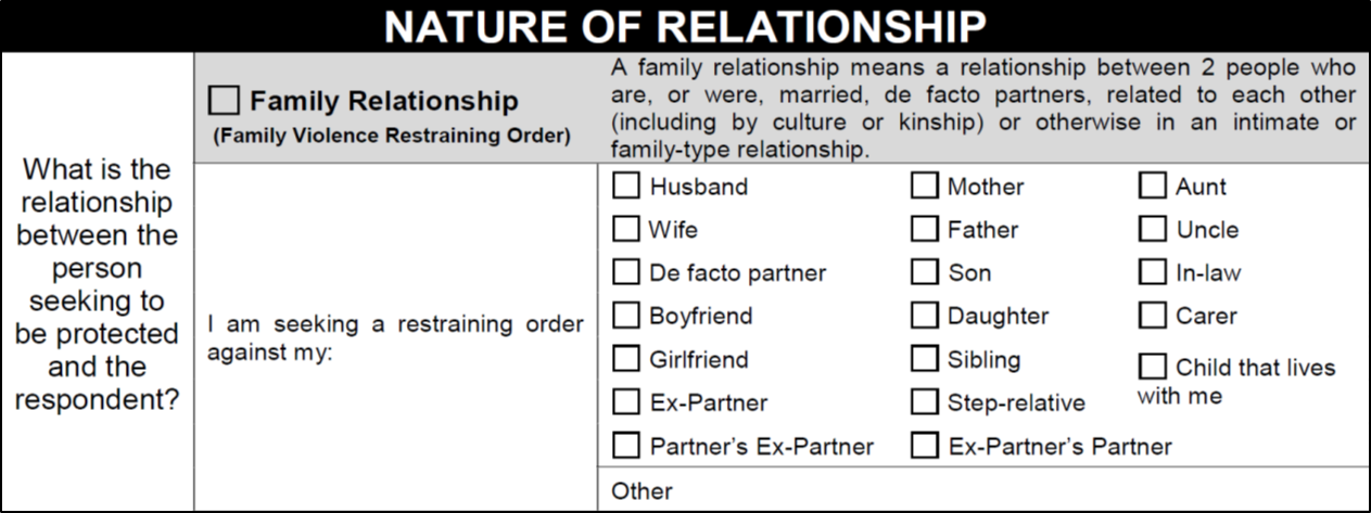 Family relationship section of the FVRO application form