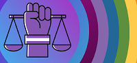 lgbtiqa fact sheet header - scales of justice against rainbow background