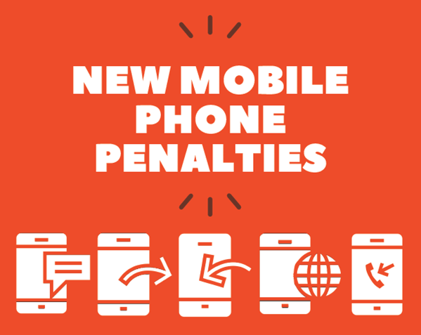 White text New mobile phone penalties on orange background with 5 icons of using mobile phone