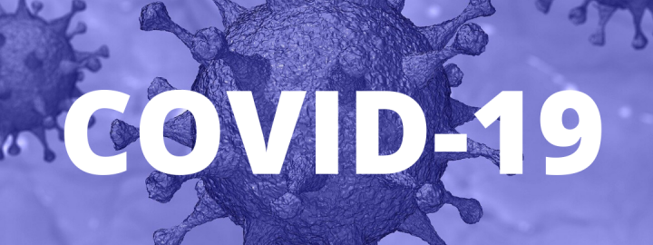 COVID-19 in front of spiky virus cluster
