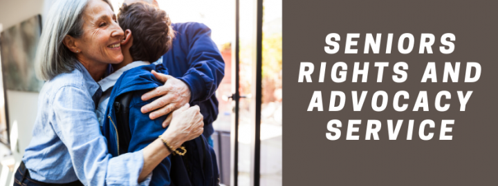 Older woman hugging another person. Text 'Seniors Rights and Advocacy Service'