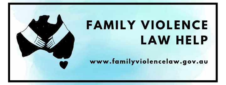 Family Violence Law Help website banner - cartoon of people holding hands in front of map of Australia